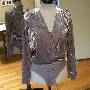 New Zara Silver Crushed Velour Bodysuit